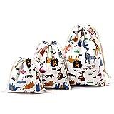drawihi 3pezzi Lovely Printed Cotton-sacchetto coulisse sacchetto di immagazzinaggio Tee Buste dolci regali