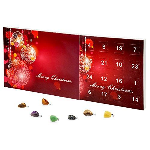VALIOSA 1001 Merry Christmas Mode-Schmuck Adventskalender mit Halskette + 23 individuelle Anhänger aus Halb-Edelstein, das besondere und originelle Geschenk für Mädchen und Frauen, 24-teilig 1 Set