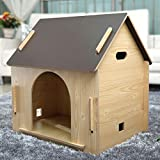 PLHF Massivholz draussen Zwinger Woody Hundehütte Warme Matte Katzen-Nest Haustier Haus, Wood color, XL
