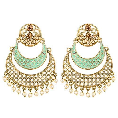 The Luxor Fancy Partywear Meenakari Jhumkhi Chandbali Gold Non-Precious Metal Earring for Women and Girls
