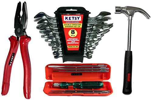 Ketsy 731 4 Pcs. Hand Tool kit(Screwdriver set of 6 Pcs.,Combination plier 8 inch, Doe Spanner 8 Pcs.,Claw hammer steel shaft 1/2lb)
