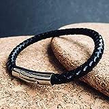 Armband BLADE Leder | schwarz | Hebeldruckverschluss | 21 cm | HolycusCraft