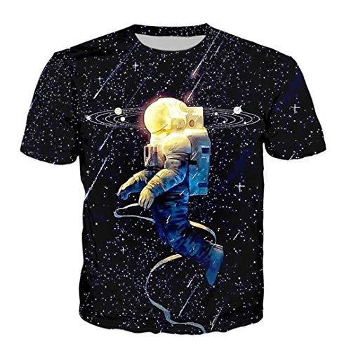 Das T-Shirt der Männer Raum-Katzen-Cooles Hip Hop Streetwear lustiges Harajuku Galaxie-Sommer-T-Stück 7 4XL -