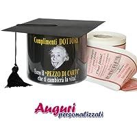 """Carta igienica cappello di laurea """"Complimenti"""" regalo festa laureati."""