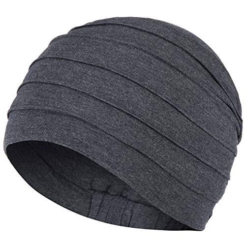 Christine Headwear Turban Yoga Uni Bamboo Bonnet Chimio (Taille Unique - Bleu-mouchete)