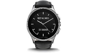 Vector L1-10-016 Luna Smartwatch (46mm) Edelstahl mit Leder Armband schwarz