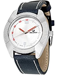 Orlando® Branded Japan Movement With White Dial & Blue Leather Belt Watches For Men - W1305BU04WXZXZ