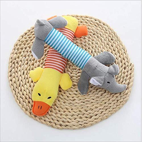SEESEE.U 3 Hundespielzeug Quietschkissen in Form eines Elefantenentenschweins, kurzer Plüsch, 24cm