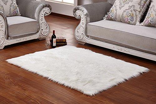 LIQIANYING Kunstfell Schaffell Teppich Shaggy Hochflor Vorleger Deko Weiß Rechteck für Schlafzimmer,Wohnzimmer,Sofa