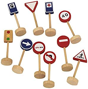 Goula - 50211 - Jouet en Bois - Eveil - Sac - Panneaux de circulation 16 u