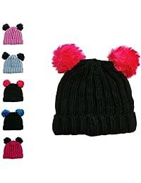 Gorro tejido de invierno para niña con pompón individual y doble 2 POM POM  HAT BLACK PINK 2d974130749