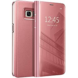 Eabuy Galaxy S7 Edge Coque, Etui à Rabat en PU Cuir Cover Flip Case Translucide Clear View Effet Miroir Standing Support pour Samsung Galaxy S7 Edge Or Rose