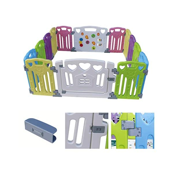 Baby Playpen Kids Activity Centre Safety Play Yard Home Indoor Outdoor New Pen (Multicolour, Classic Set 14 Panel) (Multicolour 14 Panel) Gupamiga MOM'S LIFESAVER: Keep baby safe in there play centre when mom/dad needs to cook, clean up, go to the bathroom, etc. STURDY HOLDING: Specially designed rubber feet underneath of the yard so the parts don't go sliding around. COVERS A LARGE AREA: It is a great amount of space for baby to learn walk and even laying with baby in it for play time. 6