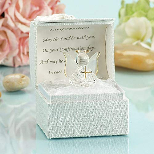 SAFRI Confirmation Gift Crystal Angle With Cross Religious Gift Catholic/Christian Ideal For Confirmation Day Present