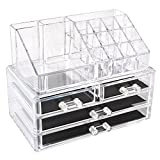 HOMFA Acrylic Clear Cosmetic Makeup Organiser 4 Drawers Holder Case Jewelry Storage Box