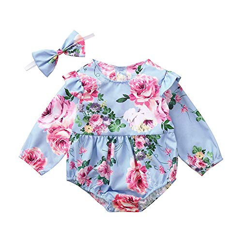 CixNy 0-24 Monate Babyklamotten Kleiderset, Neugeborenes Baby Mädchen Baumwolle Bowknot Kleidung Body Strampler Overall Stirnbänder Mädchen Halloween Bekleidunsets Outfits