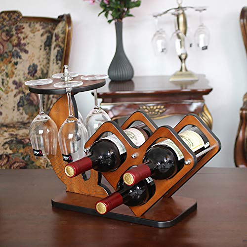 Zzsyso Massivholz Weinregal Farbe Holz Farbe Weinflasche Rack Weinkelch Flasche Upside Down...