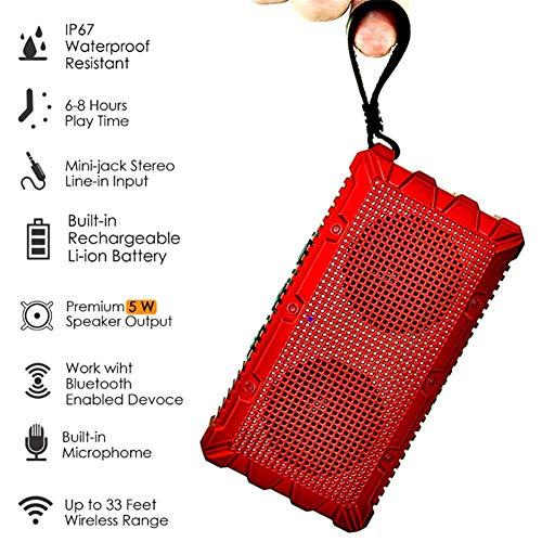 LLVV Tragbarer Mini-Bluetooth-Lautsprecher mit Aufhängeriemen, Freisprecheinrichtung mit Mikrofon,Red -