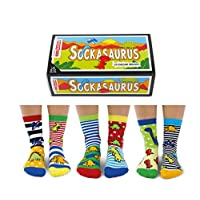 Sockasaurus Box of 6 Oddsocks for Boys, UK 9-12, EUR 27-30, US 9.5-13, Multicoloured