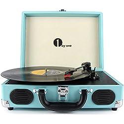 Platine Vinyle 1 BY ONE Tourne Disque Transportable Immitation Bois,3 Vitesses avec Enceinte Interne, Prise USB pour MP3, AUX in et Prise RCA