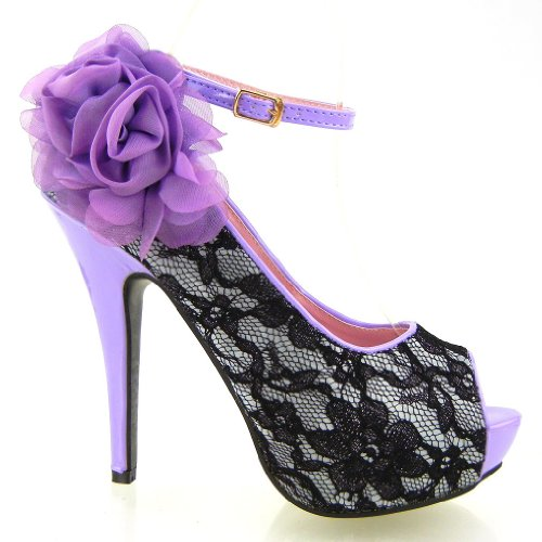 Mostriamo donne Story Black Lace Scarpe a punta aperta Fiore stiletto della piattaforma, LF30408 Viola
