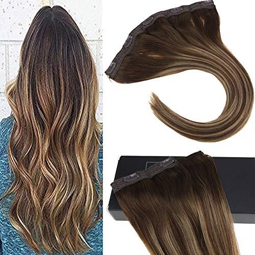 Sunny 40cm-55cm 1pz 5 clips 70g ombre extensions marrone al caramello biondo marrone mista remy lisci capelli con clip veri umani 18 pollice