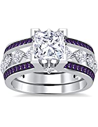 Silvernshine 10K White Gold PL Amethyst Sim Diamond Interchangable Ladies Special Engagement Ring