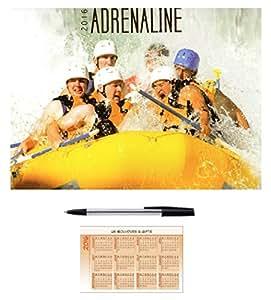 2016Adrenaline carré 16mois Calendrier mural gratuit Stylo Cadeau de Noël Sports extrêmes Eau Flying Kayak Moto alpinisme Cascades Snow Boarding