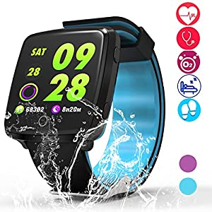 AXESX Fitness Tracker,Activity Tracker Watch with Heart Rate Monitor Waterproof IP68 Fitness Watch, Step Counter Pedometer Watch Smart Watch,Call SNS Remind Multi Sports Modes Sports Watch