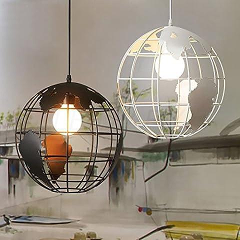 Lediary Suspension en forme de globe terrestre en fer forgé style industriel rétro, une tête, ampoule E27, noir, 20cm, blanc, PDLAMP-6-1W20, 220.00 voltsV