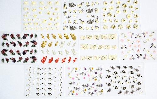 10pcs/package ongles autocollants décalques conceptions multi-mix incluant paillettes fleurs / fleurs blanches avec des roses d'or / blanc / noir fleurs / fleurs colorées et des vignes / Coeur / amour / français décalques d'ongle semi-coller des autocollants / lacets / etc noirs.