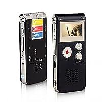 Btopllc Digital Voice Recorder 8GB, MP3 Player Mini USB Port, Audio Voice Recorder Rechargeable MP3 Player Support A-B Repeat, Voice Recorder Lecture /Conversations / Meetings / Interviews - Black