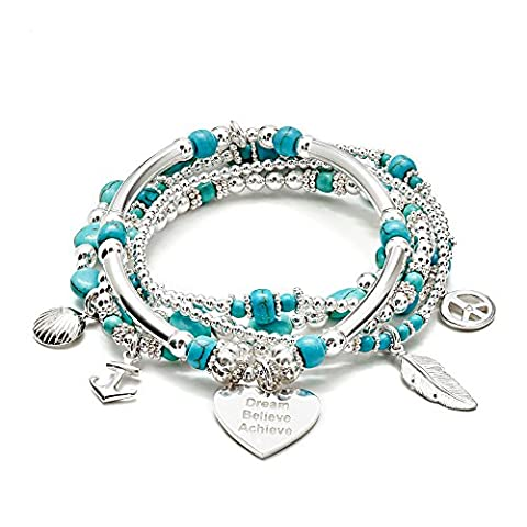 ANNIE HAAK Tranquil Turquoise 925 Sterling Silver 5 Strand Bracelet Stack with Heart 'Dream Believe Achieve' Motto Charm