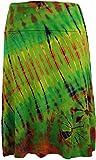 Guru-Shop Batik Hippie Midirock, Sommerrock, Knielang, Damen, Grün/Bunt, Synthetisch, Size:38, Kurze Röcke Alternative Bekleidung