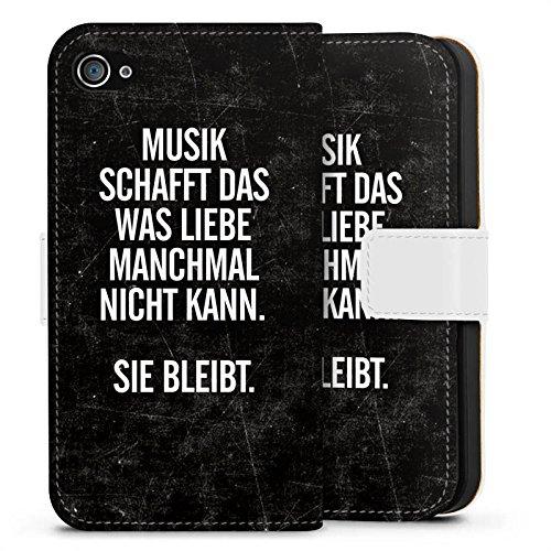 Apple iPhone 5s Silikon Hülle Case Schutzhülle Sprüche Liebe Musik Sideflip Tasche weiß