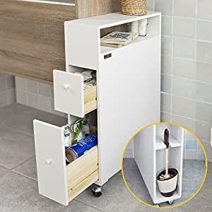 sobuy bathroom storage cabinet with casters toilet paper
