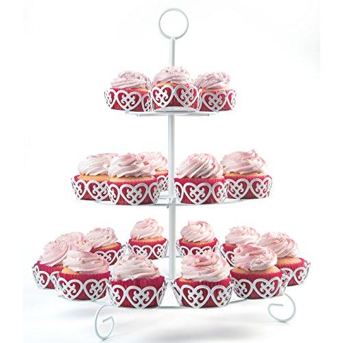Melidoo 24er Cupcake Muffin Dessert Ständer 3-stöckig | Metall Etagere Weiß, Vintage | Ideal für Kindergeburtstag, Hochzeit, Taufe, Geburtstag, Baby Shower [inkl. E-Book]