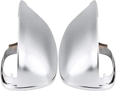Qiilu QL04951 Coppia di coprimozzo in ABS cromato opaco specchietto retrovisore Coperchio di protezione vista laterale