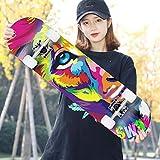CXSM Erwachsene Roller Kinder Vier-Rad-Double-Warping Longboard Skateboard Männer und Frauen Professionelle Pinsel Street + Flash-Rad