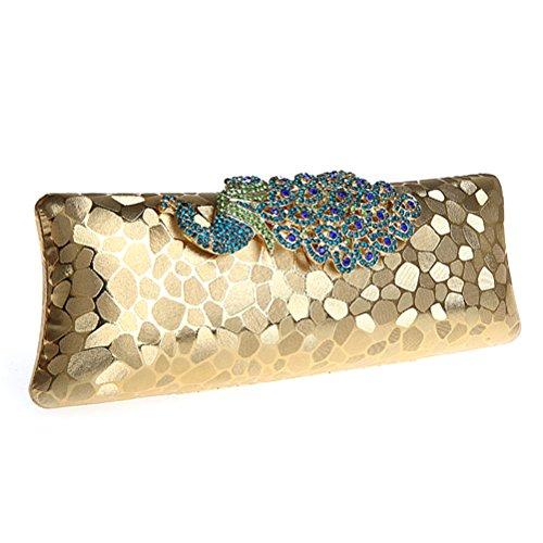 19d215a031 BESTOYARD Borsa da sera donna con diamante artificiale a forma di pavone  cinghia pochette eleganti Da