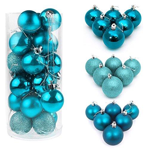 ILOVEDIY lot de 4/6/8CM boules de noël pour décoration sapin diverses quantités et tailles au choix (6CM 10Pcs, bleu turquoise)