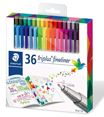 Staedtler 334 Triplus Fineliner Superfine Point Pens, 0.3 mm, Assorted Colours, Pack of 36