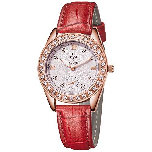 yosimi Damen-Armbanduhr Rose Gold Ton mit Weiß Lederband Fashion Kristalle Analog Display - Hut Display-box