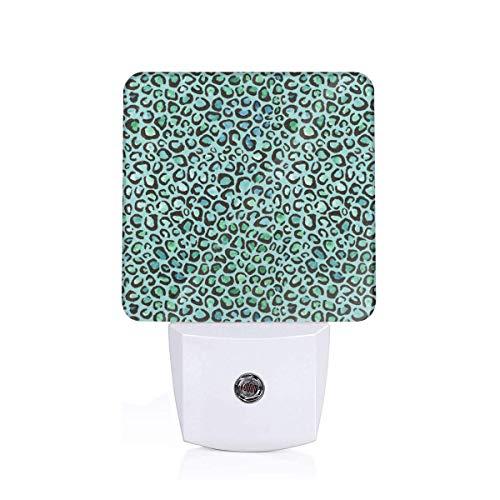 Led Night Light Blue And Green Cheetah Print Auto Senor Dusk to Dawn Night Light Plug in for Baby, Kids, Children's ()