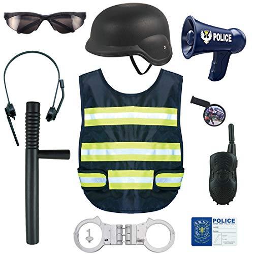 LDB SHOP 11 Stück Kinder Polizei Helm Polizei Spielzeug Set Rollenspiel Polizei