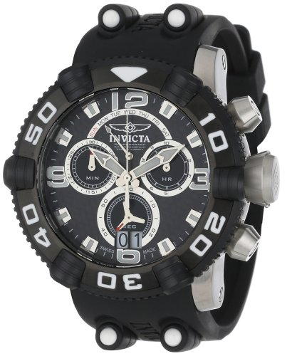 Invicta Men's 50mm Black Polyurethane Band Steel Case Swiss Quartz Carbon Fiber Dial Watch 12256