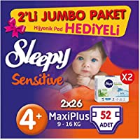 Sleepy Sensitive No 4+ Maxi Plus Bebek Bezi 52 Adet
