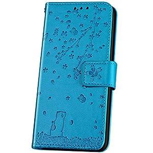 JAWSEU Compatible con Samsung Galaxy J5 2017 Funda, Bonita Flores Gato Diseño Carcasa PU Cuero Libro Flip Billetera Tapa Cartera Case Cierre Magnético Soporte Plegable Ranura para Tarjetas Case,Azul