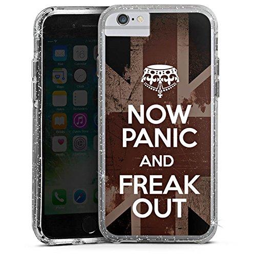 Apple iPhone 6s Plus Bumper Hülle Bumper Case Glitzer Hülle Now Panic Sprüche Sayings Bumper Case Glitzer silber