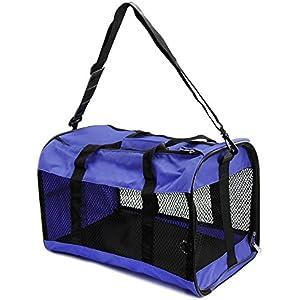 COM-FOUR® Transportbox für Haustiere, Tragetasche zum zusammenklappen für Katzen, kleine Hunde und Kleintiere, mit Netzgewebe und robuster Bodenplatte, 43x29x28cm in blau